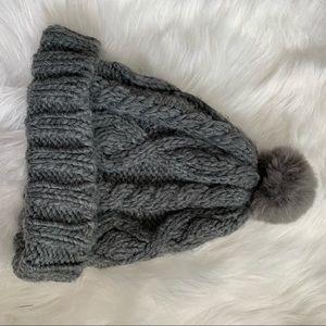 Grey knitted Pom hat